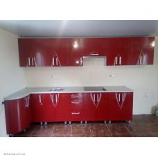 Кухня под индивидуальный заказ (фасад красный глянец)