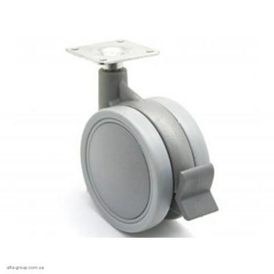 Ролик д=75 мм. з тормозом подвійний сірий